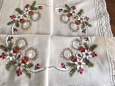 Vintage Hand Embroidered Natural Linen Lace CHRISTMAS Table Cloth 34x34 Inches