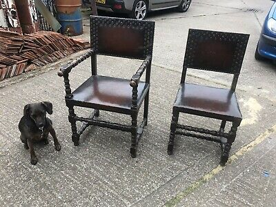 Set Of 6 Jacobean Chairs - 4 Dining And 2 Carvers