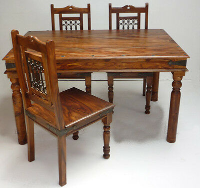 Indian Jali 135cm Dining Table & 4 Chairs Solid Sheesham by Mercers Furniture®