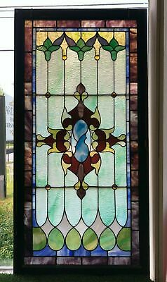 "Antique Leaded Stained Glass Window 30"" x 60"""