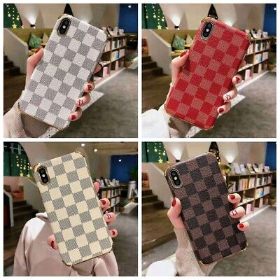 For iPhone X S XR MAX 6 7 8 Luxury Plaid Lattice Leather Case Cover Shockproof