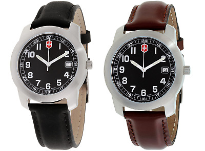 Victorinox Classic Black Dial Leather Strap Men's Watch (Collection)