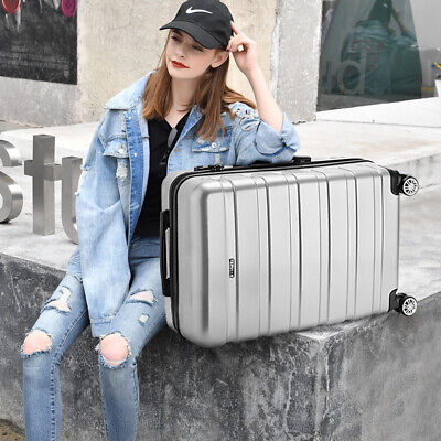 "Silver Large 28"" Suitcase Quality PC Lightweight Hard Shell Travel Luggage Bag"