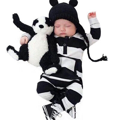 New baby boys girls newborn striped romper outfit bodysuit jumpsuit clothes PDH