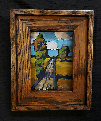 Vintage HAWKINS Craftsman FRAMED Clouds Landscape Impressionist Oil Art Painting