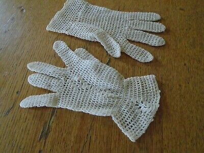 Pair Of Vintage Hand Crochet Cotton Lace Gloves
