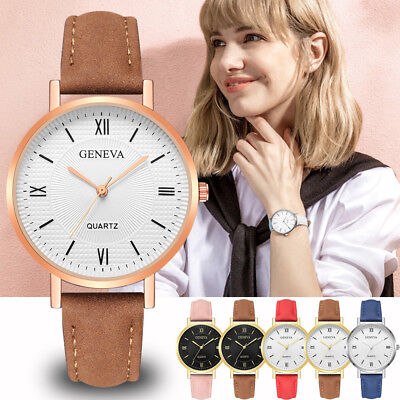 Female Women Geneva Crystal Stainless Steel Leather Quartz Analog Wrist Watches