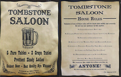 Tombstone Saloon Poster Set - Ad and House Rules, old west, western, wanted