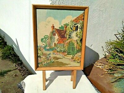 VINTAGE WOODEN FIRE SCREEN GUARD with HAND EMBROIDERY TAPESTRY - COTTAGES
