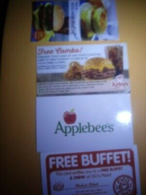 10 assorted combo meal cards with drink