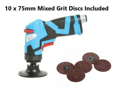 Duren Air Operated Angle Sander 75mm / 50mm Roloc Backing Pads Included