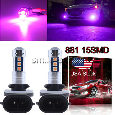 881 889 3030 15SMD LED Fog Light Bulb Conversion Kit Super Bright Pink Purple US
