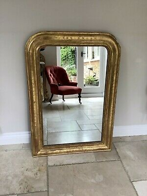 Antique 19Th Century French Original Gilt And Gesso Louis Philippe  Mirror