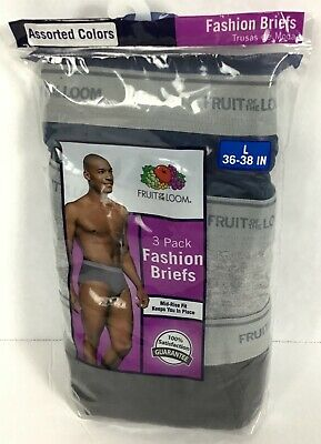 b9db5a9ea1c4 3 Pair Fruit of The Loom Mens Size L 36-38 Fashion Briefs Assorted Colors
