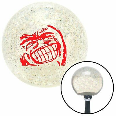 Red Big Grin Meme Clear Metal Flake Shift Knob with M16 x 1.5 Insert parts