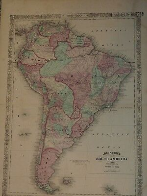 "ORIGINAL 1863 Johnson's SOUTH AMERICA 18"" x 26"""