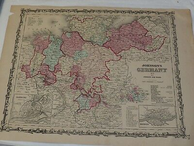 1863 Johnson's GERMANY NO.1 Hand Colored 14 x 18""
