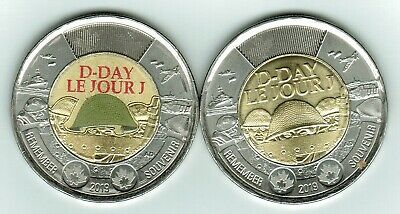 2019 D-Day Toonies Two Coins Coloured And Plain Taken From Special Rolls