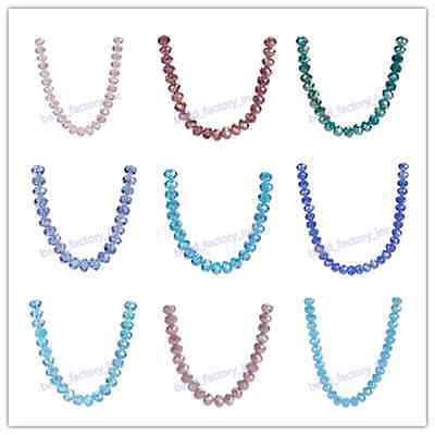 Glass Crystal Rondelle Faceted Loose Beads Spacer Charms 100pcs Material Supply