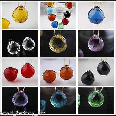 20mm Crystal Glass Faceted Pendant Ball Jewelry Finding Charm Beads Multicolour