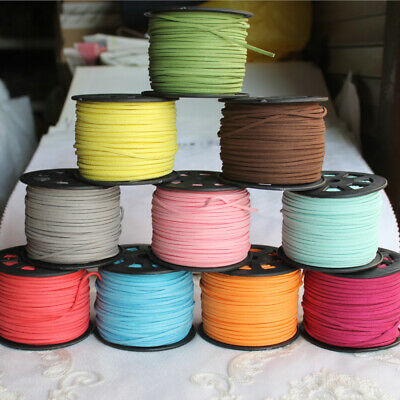 2.6mm Flat Leather Faux Suede Cord Thread String Necklace Chain 100Yards/roll
