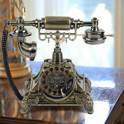 Antique Vintage Telephone Phone Handset European Style Rotary Dial Decor Gift