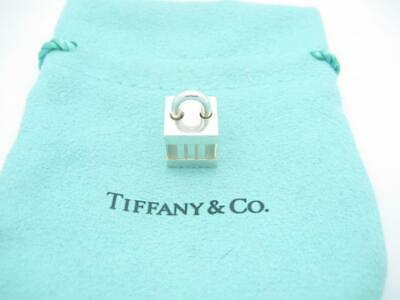 Tiffany & Co. Sterling Silver Atlas Collection Cube Lock Charm Pendant - Pouch