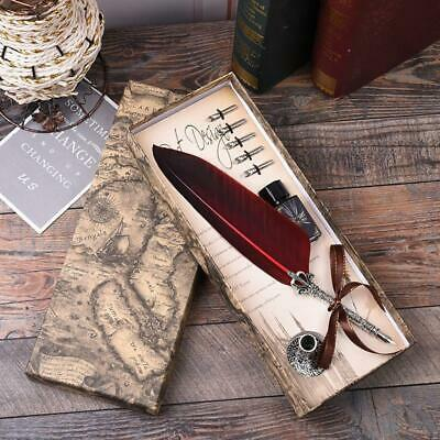 Vintage Red Quill Dip Pen Feather Pen + Ink Bottle & 5 Nibs Gift with Box New