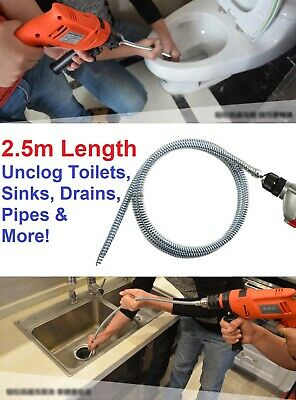 2.5m Plumber Sink Snake Drain Auger Toilet Jack Unblocker Cable Drill Attachment
