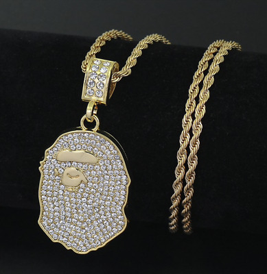"""Male Hip Hop 14K Gold Plated Necklace Iced Out Bling Bape Ape Pendants 29"""""""