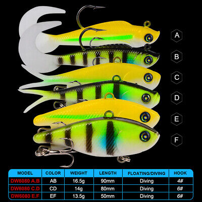 1pc Soft Lure Wobblers Jig Head Bass Bait Artificial Bait Silicone Fishing Lures