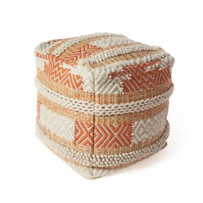 Kas Rugs Accent Pouf Foot Stool Bedroom Decor Foam Seat Sunset Oasis 18 Inch