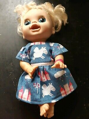 Homemade Baby Alive Blue with Unicorn  Dress
