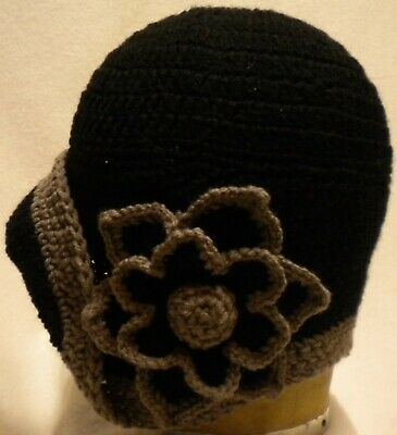 Cloche 1920s vintage style  ladies flapper  hat handcrafted BLACK/CARAMEL