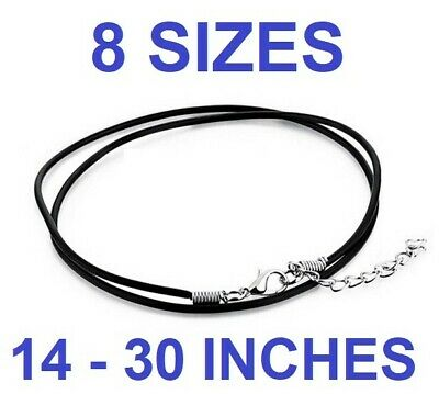 """BLACK REAL LEATHER NECKLACE with lobster clasp cord string 2mm 12""""- 30"""" Choker"""