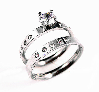 316L Stainless Steel CZ Wedding Band Bridal Engagement 2Pc Ring Set Size 5-11