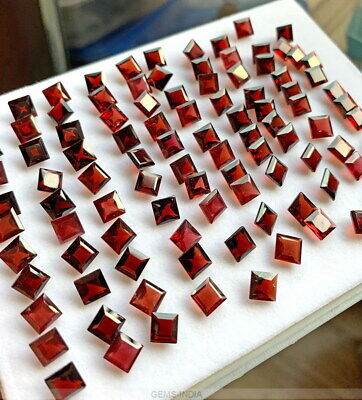 100 Pc Natural Garnet Square Cut Stone, 6mm Faceted Gemstone 124+ Ct For Jewelry