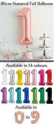 86cm Colour Foil Number Balloon Birthday Party Helium 1st 21 Teal Rose Gold LGE