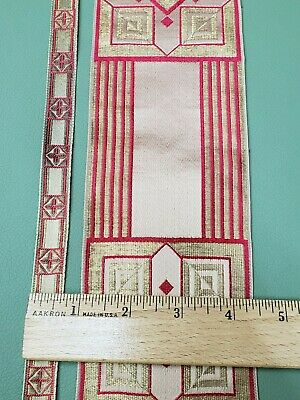 Vintage French Vestment Orphrey Banding Trimming Red on Metallic Gold Galloon