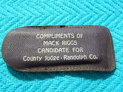 Vintage 50's MACK RIGGS For Judge Randolph County Arkansas Leather Stone Pouch