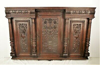 Antique Hand Carved Wood Front  Door Panels Reclaimed Architectural 3 Pieces