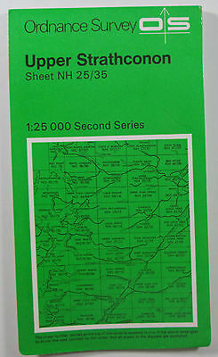 1974 old OS Ordnance Survey Second Series 1:25000 Map NH 25/35 Upper Strathconon