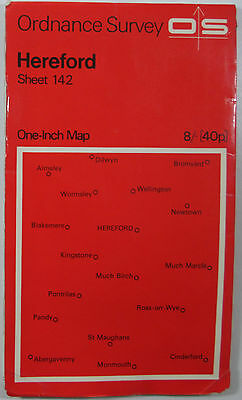 1967 old vintage OS Ordnance Survey seventh series one-inch Map 142 Hereford