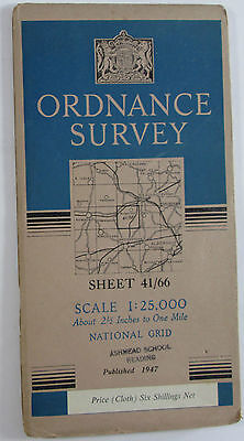 1947 old OS Ordnance Survey 1:25000 First Series Map SU 66 Mortimer SU 66 cloth
