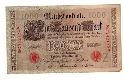 Germany 1910 1000 Mark German Large Banknote Reichsbanknote, Antique Paper Money