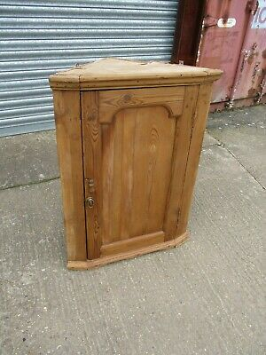 A 19th Century Pine Corner Cabinet Cupboard Hanging Victorian Shaped Scrubbed