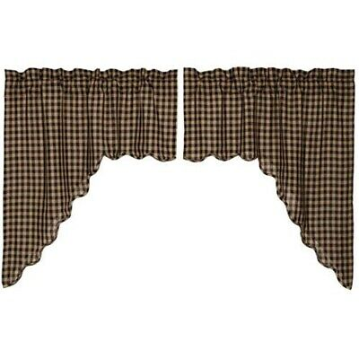 farmhouse rustic country primitive Black Khaki plaid Scalloped SWAGS curtains