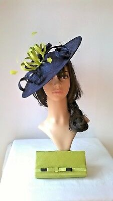 Navy Blue & lime green Feather Fascinator..Hatinator shaped disc Wedding.races.