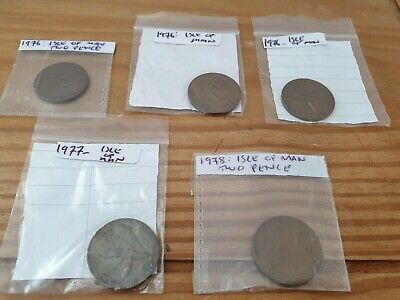 5 x Isle of man 2 pence bronze coins 1976(3),1977,1978