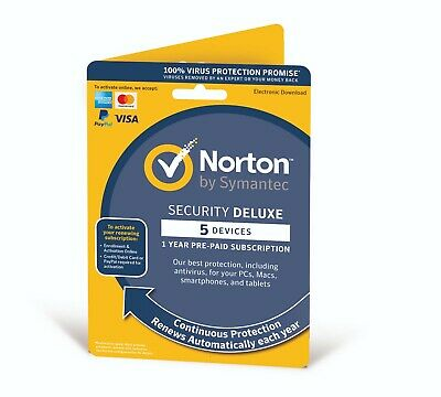 Norton Internet Security DELUXE 2019 5 Devices 5 PCs 1 Year Delivery by Post EU